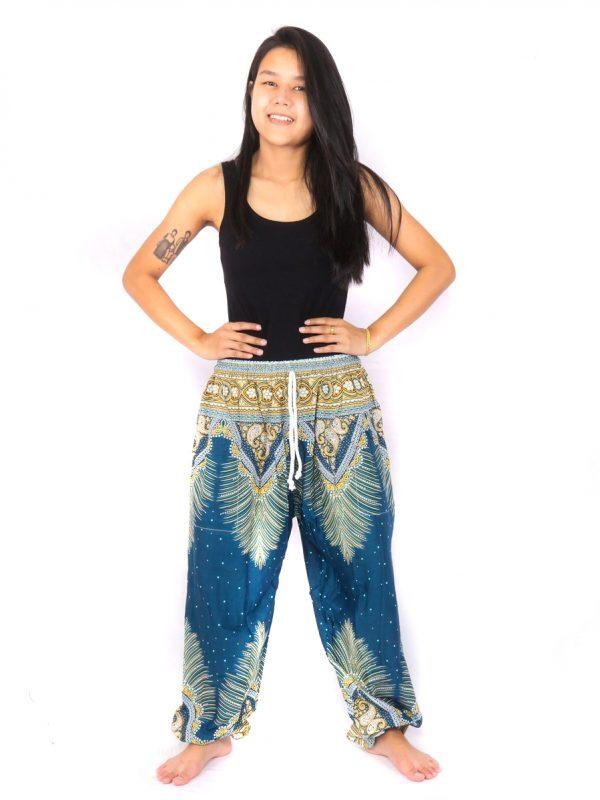 Harem Pants Feather Paisley Blue