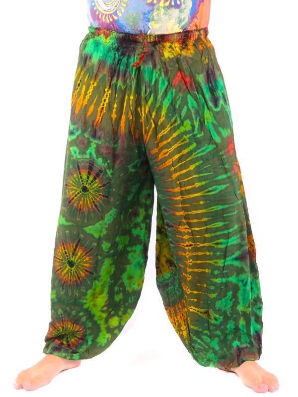 Balloon Harem Pants Rayon Tie Dye Green