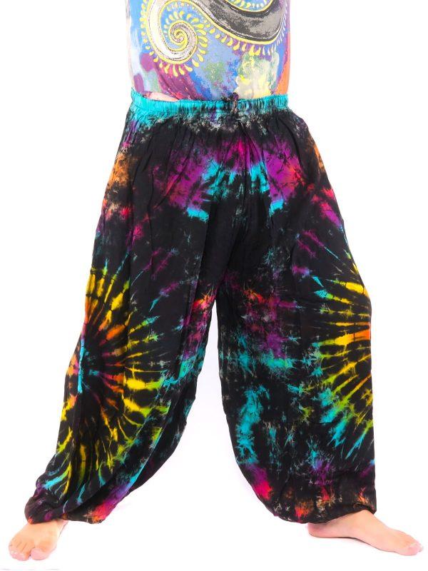 Harem Baloonpants Tie Dye Rayon Black